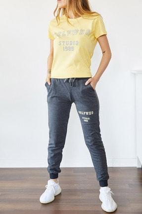 Xhan Kadın Sarı Baskılı Eşofman Takım 0yxk8-43838-10