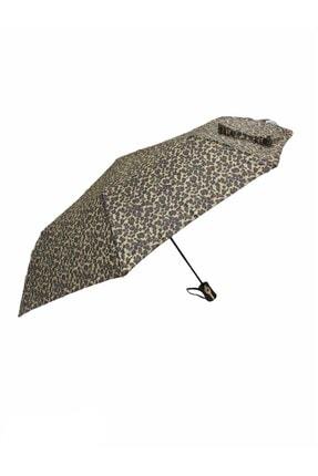 Almera Kadın Leopar Desen Yarı Otomatik Şemsiye