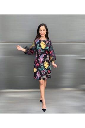 Ayhan Kadın Siyah Floral Desenli Organze Kol Elbise