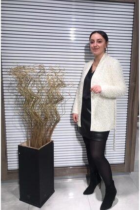 Ayhan Kadın Ekru  Saçaklı Astarlı Sim Detaylı Ceket