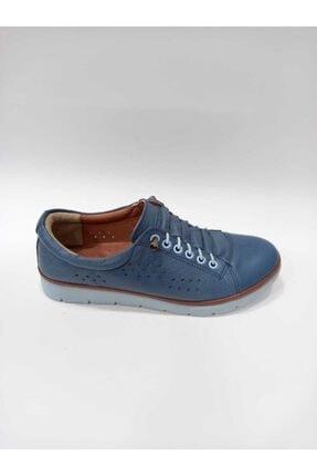 Punto 393005-06 Mavi Hakiki Deri Ortopedik Taban El Dikişli Kadın Günlük Ayakkabı