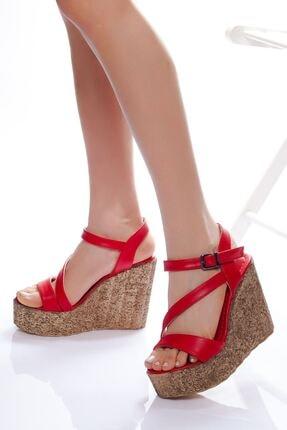 derithy Kadın Kırmızı Dolgu Topuklu Ayakkabı