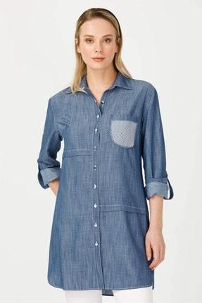 Moda İlgi Kadın Lacivert Erkek Yaka Cepli Gömlek