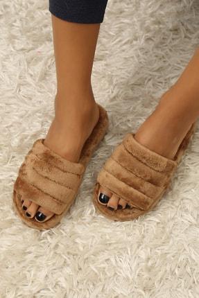 Ayakkabı Modası Kadın Taba Renk Kadife Ev Terliği