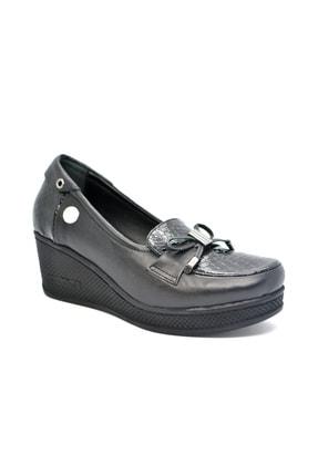 Mammamia Mammamıa Kadın Dolgu Topuk Siyah Rugan Ayakkabı