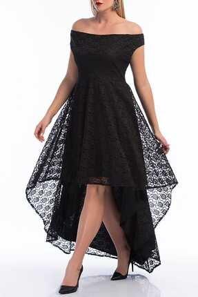 ANGELINO Kadın Siyah Kayık Yaka Komple Güpür Mezuniyet Elbisesi PNR036