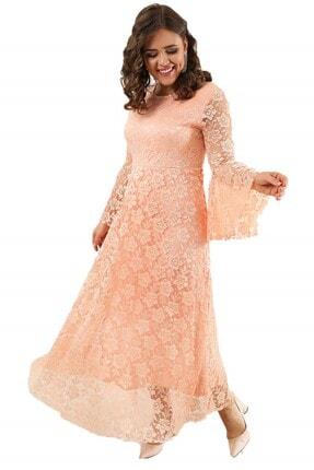 ANGELINO Kadın Pudra Kolları Volanlı Komple Dantel Elbise DD791