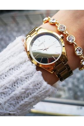 Homies Kadın Altın Renk Çelik Saat ve Bileklik