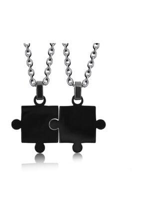 Chavin Unisex Siyah İkili Yapboz Çelik Kolye Set Eb27