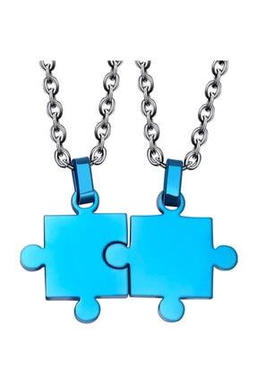 Chavin Unisex Mavi İkili Yapboz Çelik Kolye Set eb27