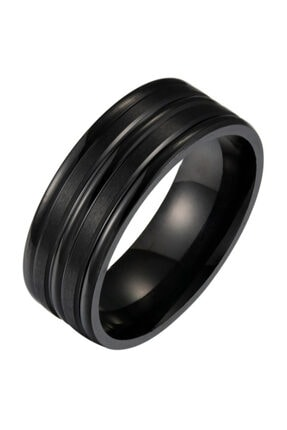Chavin Unisex Siyah ip Kaplama Çelik Yüzük Alyans ehy-ehy-ec43sy