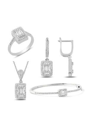 Mercan Silver Gümüş Rodyumlu Baget Taşlı Kolye Küpe Yüzük Ve Bilezik Set