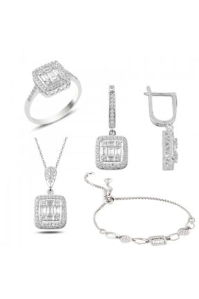 Mercan Silver Gümüş Rodyumlu Baget Taşlı Kolye Küpe Yüzük Ve Bileklik Set