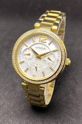 JAGA Multifonksiyonlu Çelik Taşlı Kadın Kol Saati