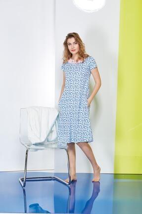 PJS PİJAMA Empirme Desen Cepli Bayan Elbise 20614