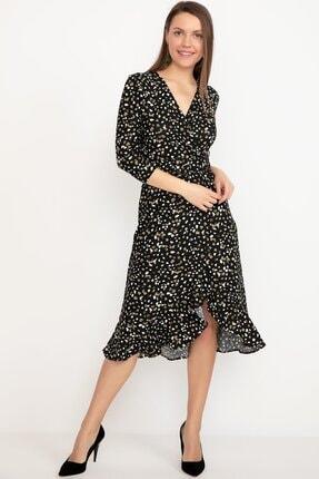 D-Paris Kruvaze Yaka Fırfırlı Elbise