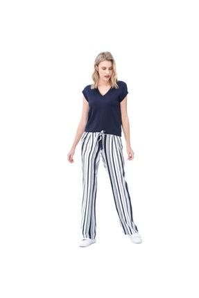 Nautica Nautıca Kadın Beyaz Çizgili Pantolon
