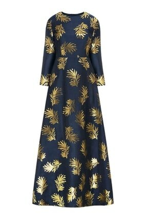 Faberlic Lacivert Uzun Kollu Desenli Elbise 40 Beden