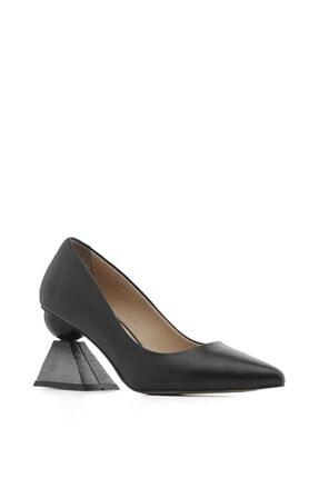 İlvi Nikol Bayan Topuklu Ayakkabı Siyah Deri