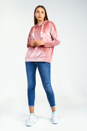 Collezione Pudra Kapişonlu Önü Cepli Uzun Kollu Kadife Kadın Sweatshirt