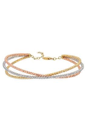 Pink Gold Store Ria 3'lü Dorikalı Beyaz&pembe&sarı Altın Bilezik