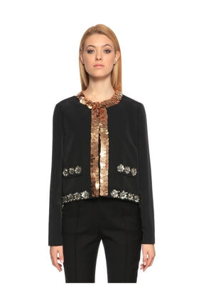 Lanvin Pul Payet Işlemeli Siyah Ceket