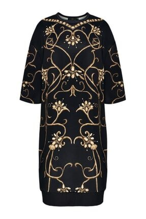 Faberlic Siyah Yarım Kollu Monogram Elbise 50 Beden