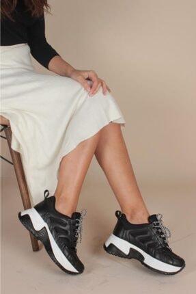 İnan Ayakkabı BAYAN SİYAH SNEAKER SPOR AYAKKABI Y1052