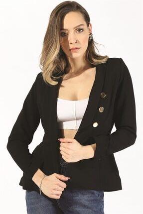 Twister Jeans Kadın Bayan Gold Düğme Ceket 19623 Sıyah