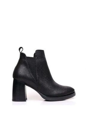 Bueno Shoes Dokulu Baskılı Hakiki Deri Kadın Topuklu Bot 9p3304
