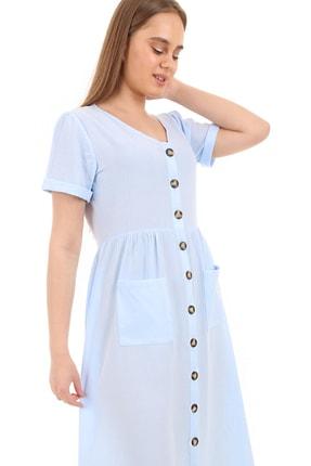 Bigdart 1650 Boydan Düğmeli Çift Cepli Elbise