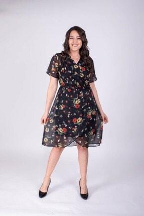 MYLİNE Şifon Kruvaze Desenli Elbise