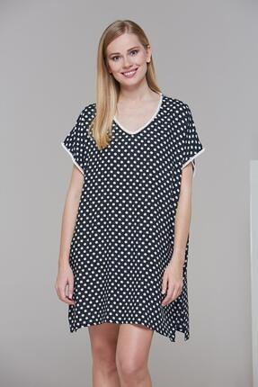 PJS PİJAMA 21476 Kadın Puanlı Yandan Yırtmaçlı Elbise