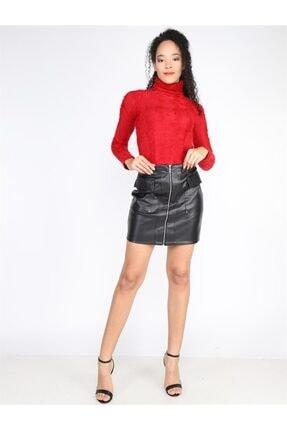 Twister Jeans Kadın Normal Bel Bet Cepli Deri Etek 2201 Sıyah
