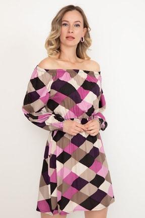 D-Paris Kayık Yaka Uzun Kol Elbise