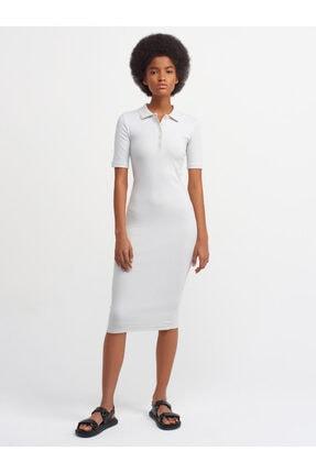 Dilvin Kadın Gri Polo Yaka Elbise 9093