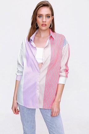 Bigdart Çok Renkli Oversize Poplin Gömlek