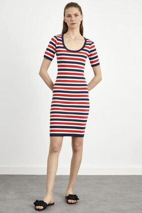 adL Kadın Lacivert Çizgili Kısa Kol Triko Elbise