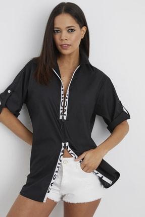 Cool & Sexy Kadın Siyah Önü Fermuarlı Şeritli Oversize Gömlek BK1123