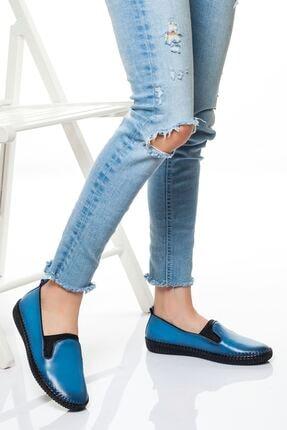 derithy Kadın Kot Mavi Hakiki Deri Klasik Ayakkabı