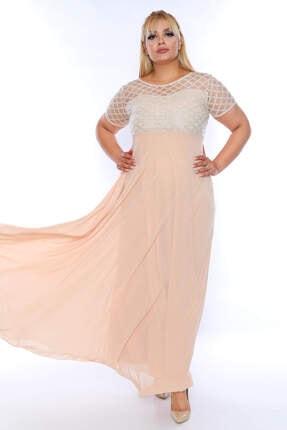 ANGELINO Kadın Üst Simli Kare Detay Uzun Abiye KL831 Bej T109965