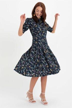 Chima Yakası Bağlamalı Elbise