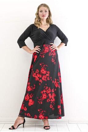 ANGELINO Kadın Siyah Gül Desen Kol Tül Detay Uzun Elbise T105347