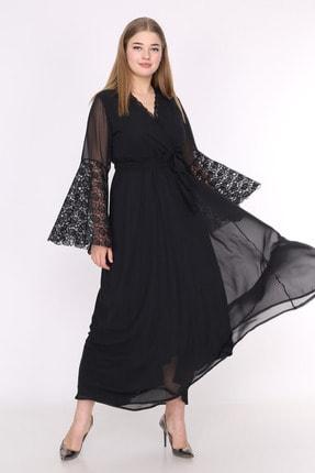 ANGELINO Kadın Siyah Kolları Dantelli Volanlı Şifon Abiye Elbise PNR5275