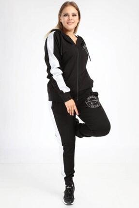 ANGELINO Kadın Siyah Büyük Beden Spor Giyim Nakışlı Kapüşonlu Eşofman Takımı 2527
