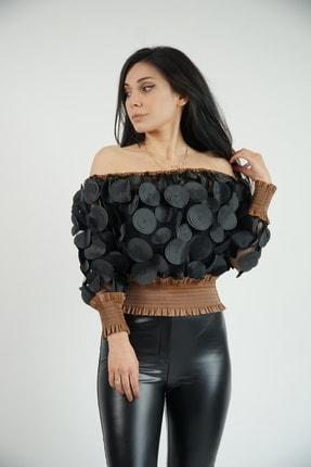 Lila Rose Kadın Siyah Taba Deri Detaylı Gipeli Bluz