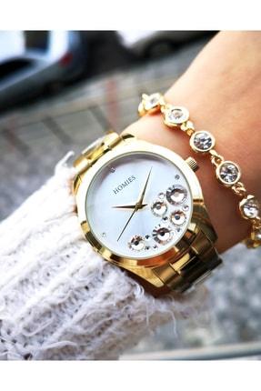 Homies Kadın Sarı Orijinal Çelik Saati Ve Bileklik