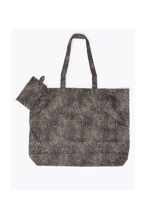 Marks & Spencer Kadın Siyah Katlanabilir Desenli Alışveriş  Çantası T01001038U