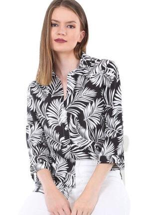 Bigdart Kadın Siyah Desenli Gömlek 3706