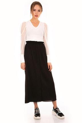 Bigdart Kadın Siyah Pileli Uzun Beli Lastikli  Etek 10291